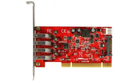 PCI to SuperSpeed USB 3.0 Host Adapter 4 Port I/O Flex PU430